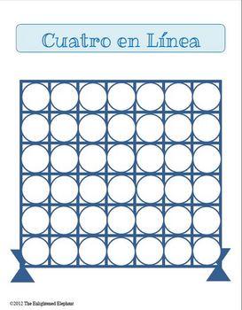Preterite vs. Imperfect Spanish Connect Four Board Game | TpT