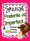 Preterite vs. Imperfect Spanish Sentence Writing Station Activities