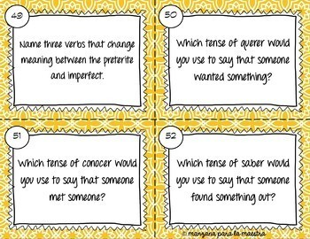Spanish Preterite and Imperfect Task Cards