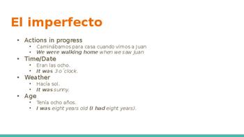 Preterite vs. Imperfect Visual and Practice