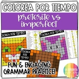Preterite vs Imperfect Worksheets | Spanish verb coloring activity