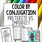 Preterite vs Imperfect color by conjugation activity lesson worksheet