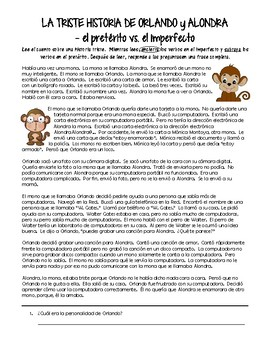 Preterite vs. Imperfect - reading (la triste historia de Chango y Mona)