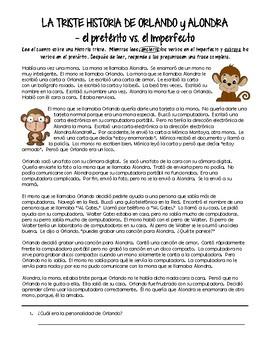 Preterite vs. Imperfect - reading (la triste historia de Oralndo y Alondra)