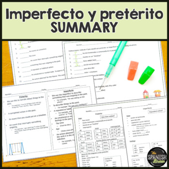 Spanish Preterite v. imperfect summary of conjugations and uses: All on ONE page