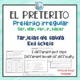 Preterito irregular exit slips Spanish
