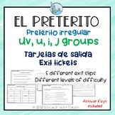 Preterito irregular u, uv, i and j groups Exit Slips SPANISH