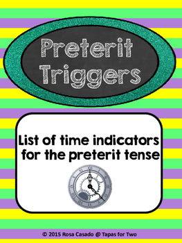 Preterito - list of triggers  FREEBIE