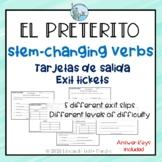 Preterito stem-changing verbs exit slips Spanish