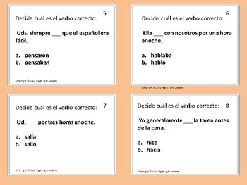 Pretérito vs. Imperfecto: Task Cards-decide between the preterit and imperfect