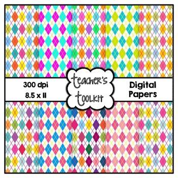 Pretty Argyle Digital Papers {8.5 x 11} Clip Art CU OK