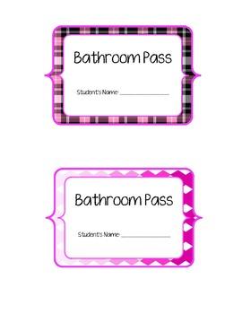 Pretty Bathroom Passes