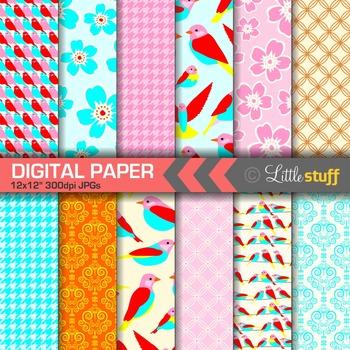 Pretty Birds Digital Paper Pack, Bright Colors