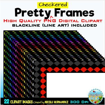 Pretty CHECKERED Frames Clip Art for Personal and Commercial Use