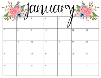 Pretty Calendars January December 2018 By Find Me In First