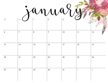 photo relating to Pretty Calendars referred to as Quite Calendars January-December 2019 dim crimson