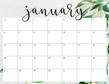 graphic relating to Pretty Calendars named Incredibly Calendars January-December 2019 environmentally friendly floral
