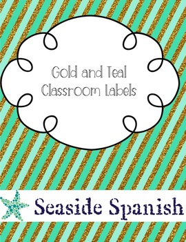 Pretty Classroom Labels: Gold and Teal