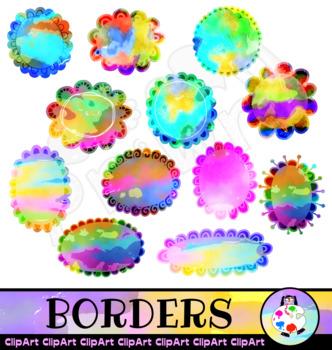 Pretty Clip Art Borders in Watercolor