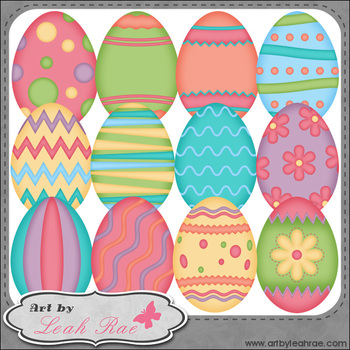 Pretty Easter Eggs 1 - Art by Leah Rae Clip Art & Line Art / Digital Stamps