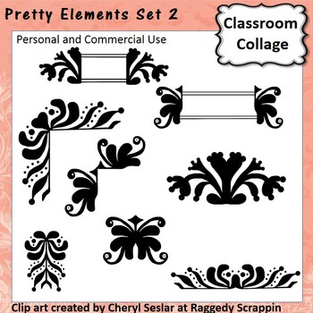 Pretty Elements Set 2 - Black and White - clip art pers/comm  use