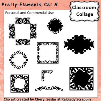 Pretty Elements Set 3 - Black and White - clip art pers/comm  use