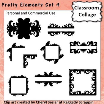 Pretty Elements Set 4 - Black and White - clip art pers/comm  use