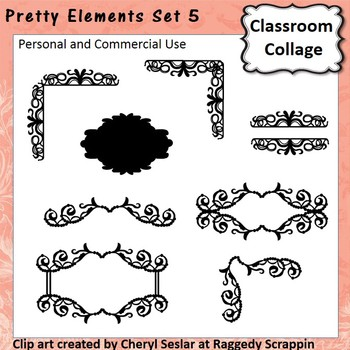 Pretty Elements Set 5 - Black and White - clip art pers/comm  use