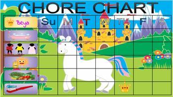 Pretty Fairy Magical Castle Unicorn Girl Chore Chart + Editable Includes Buttons