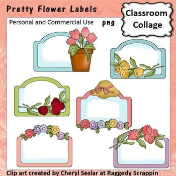 Pretty Flower Labels Clip Art personal & commercial use C Seslar