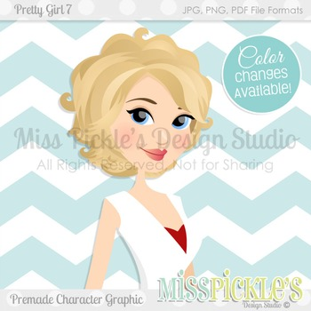 Pretty Girl 7- Blonde, Teacher Avatar, Commercial Use Character Graphic