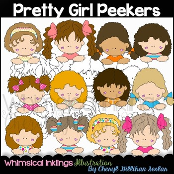 Pretty Girls Peekers Clipart Collection