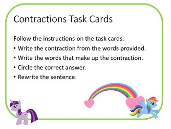 Pretty Little Ponies Contraction Task Cards