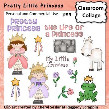 Pretty Little Princess Clip Art pers & Comm unicorn frog magic wand rose Seslar