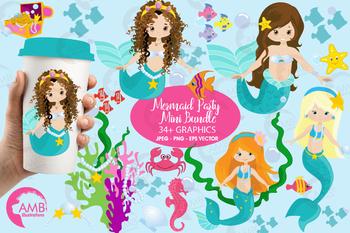 Mermaid clipart,Pretty Mermaids Clipart AMB-205