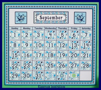 Calendar Numbers - Editable - Coordinates with Pretty Paisley Classroom Theme
