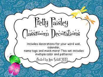 Pretty Paisley Classroom Decorations
