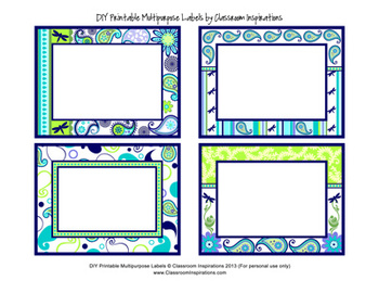 Multipurpose Labels - Editable - Coordinates with Pretty Paisley Theme
