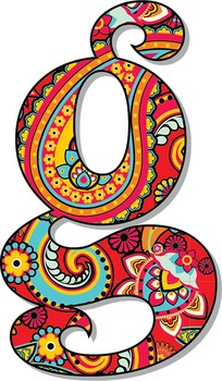Pretty Paisley Patterned Alphabet - Vector and PNG - Full Latin Alpha