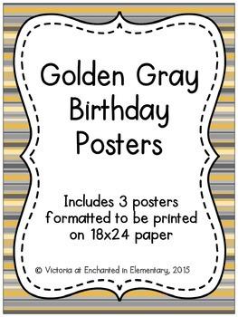 Golden Gray Birthday Posters
