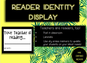 FREE Teacher Reader Identity Display--B & W