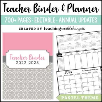 Pastel Teacher Binder