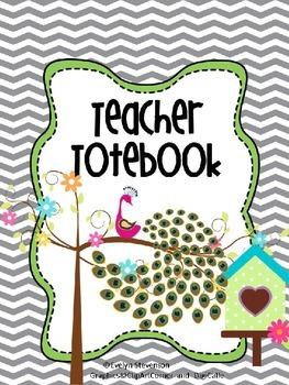 Pretty Peacock Teacher Totebook Binder