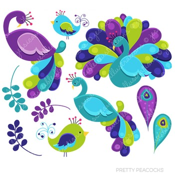 Pretty Peacocks Cute Digital Clipart, Peacock Graphics