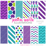 Pretty Peacocks Matching Digital Papers, Teal Purple Papers
