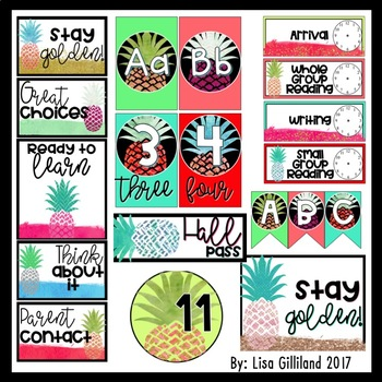 Pretty Pineapple Themed Classroom Decor! EDITABLE [400+ Pages]