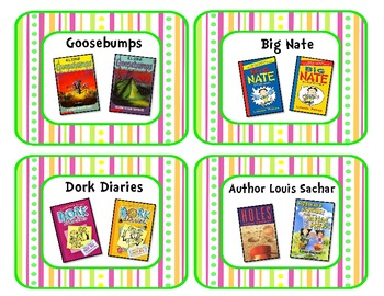 Pretty Pink, Green, and Orange Classroom Library Book Bin Labels