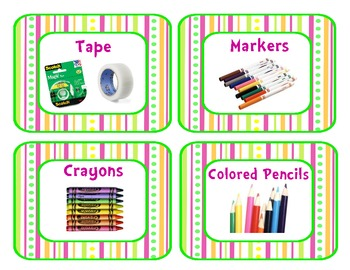 Pretty Pink, Green, and Orange Supply Tub Labels