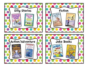 Pretty Polka-Dot Classroom Library Book Basket Labels Add-On