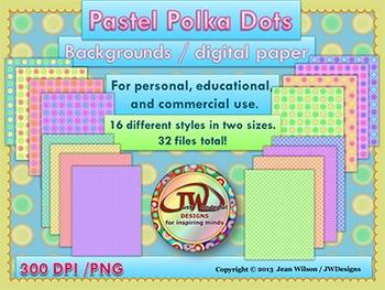 Backgrounds - Digital Papers - Clip Art - Polka Dot